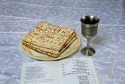 Matzah, wine and haggadah