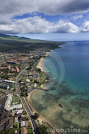 Maui coast with buildings.
