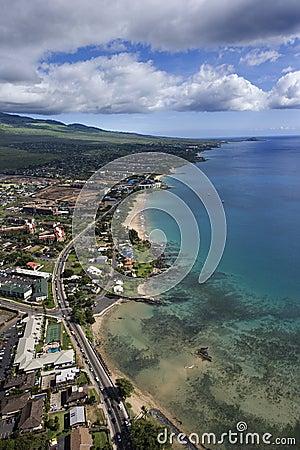 Maui coast with buildings.
