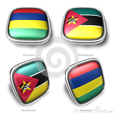 Mauritius and Mozambique 3d metallic square flag button
