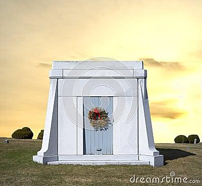 Mausoleum with wreath on door