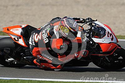 Max biaggi at full lean, WSBK 2012 Editorial Stock Photo