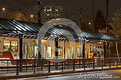 Max Train In Station Portland, Oregon Editorial Image