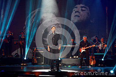 Maxim Leonidov performs on stage at Taganka Theater Editorial Image