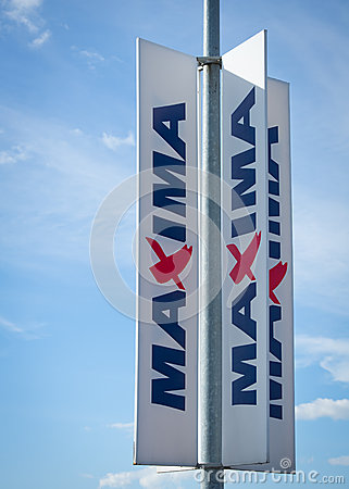 MAXIMA store sign Editorial Stock Image