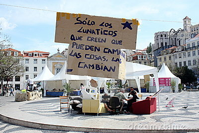 May 2011 - Lisbon, Rossio camp Editorial Image