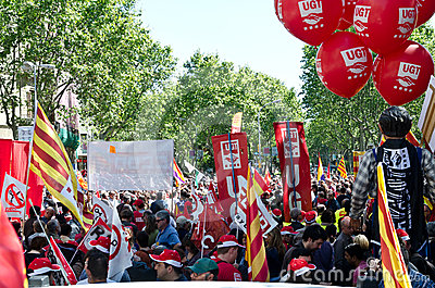 May Day Demonstration 2012, Barcelona, Spain Editorial Photography