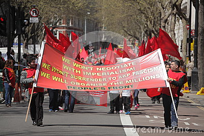 May Day demonstrators Editorial Stock Image
