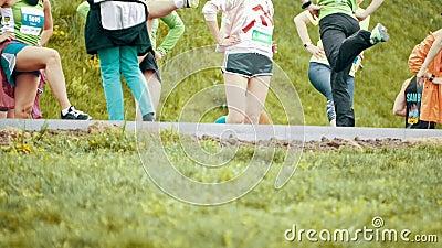 20 May 2018, Kazan, Russia- Kazan Marathon,- Athlets Warm ...
