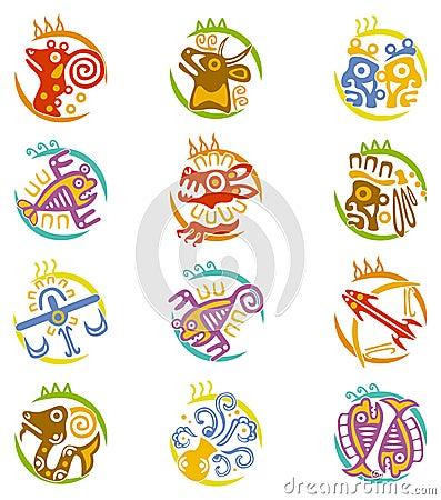 Free Maya Art Stylized Zodiac Signs Stock Photos - 11907713