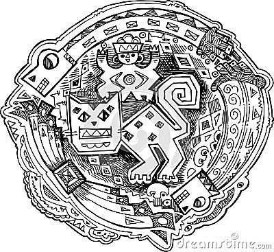 Maya decoration feline vector