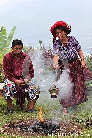 Maya priests performing ritual Editorial Image
