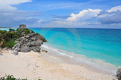Maya ruins on the Caribbean Beach, Mexico