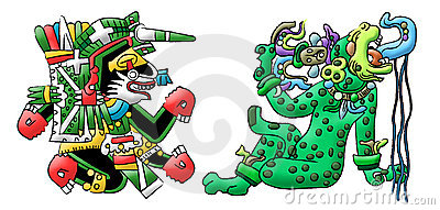Mayan- Aztec interpretations of a dog and Jaguar