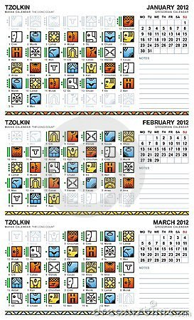 Mayan calendar, January-March 2012 (European)