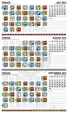 Mayan calendar, July-September 2012 (American) Vector Illustration