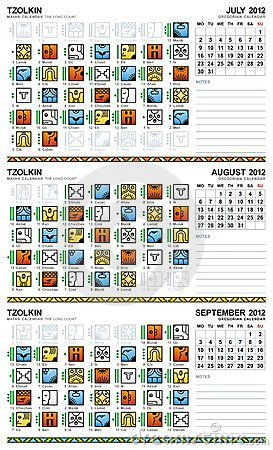 Mayan calendar, July-September 2012 (European) Vector Illustration