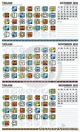 Mayan calendar, October-December 2012 (American)