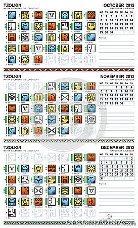 Mayan calendar, October-December 2012 (European)