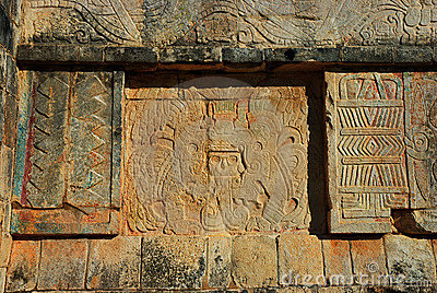 Mayan carvings at Chichen Itza near Cancun, Mexico