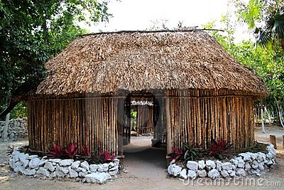 Mayan Mexico wood house cabin hut palapa