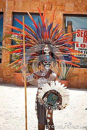 Mayan in ornamental feather headdress Editorial Image