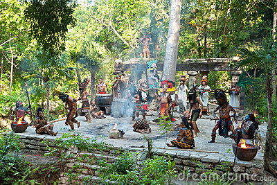 Mayan performance in the jungle Editorial Photo