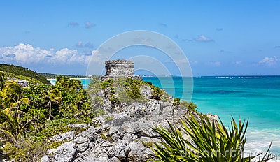 Mayan ruin at Tulum near Playa Del Carmen, Mexico Stock Photo