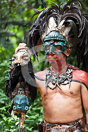 Mayan Shaman in the Xcaret Show in Mexico Editorial Stock Image