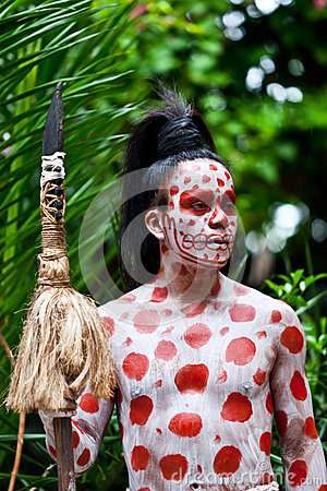 Mayan Shaman in the Xcaret Show in Mexico Editorial Photography