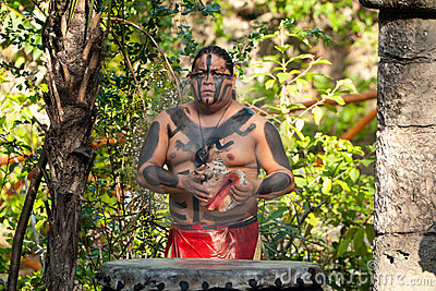 Mayan show in the jungle Editorial Photo