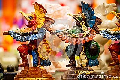 Mayan souvenir statues