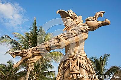 Mayan statue near Cancun