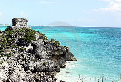 Mayan structure & carribean sea