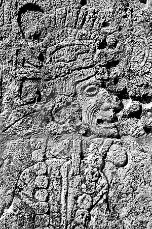 Mayan warrior carving
