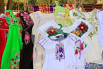 Mayan woman dress embroidery Yucatan Mexico