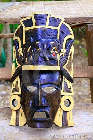 Mayan wood mask with jaguar Yucatan Mexico