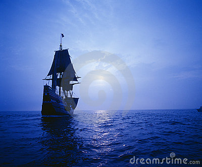 Mayflower II replica in moonlight,