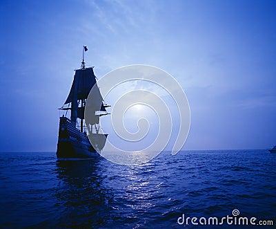 Mayflower II replica in moonlight,