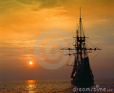 Mayflower II replica at sunset
