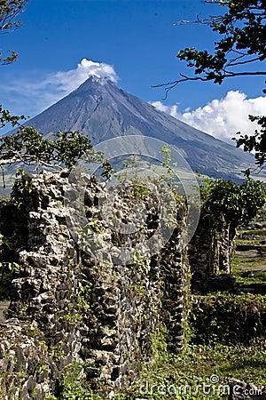 Mayon Volcano Behind a Wall