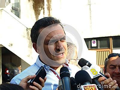 Mayor De Magistris in Scampia  - Naples Editorial Stock Image