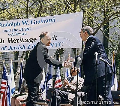 Mayor Rudy Giuliani and Marvin Hamlisch Editorial Stock Image