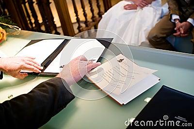 Mayor signing wedding contract
