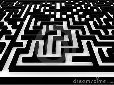 Maze � Labyrinth on white background. 3D