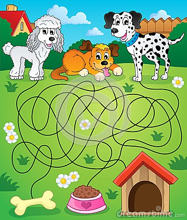 Free Maze 14 With Dogs Stock Images - 45340394