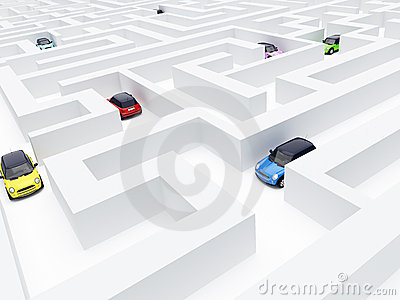 Maze and cars