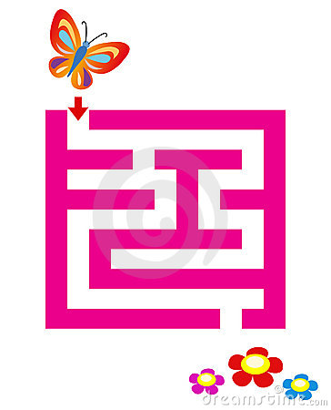 Maze for children with butterfly & flowers