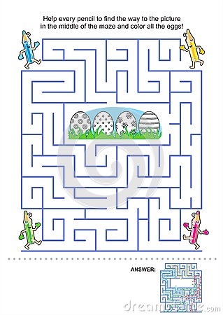 Free Maze Game And Coloring Page For Kids Royalty Free Stock Photography - 29521697