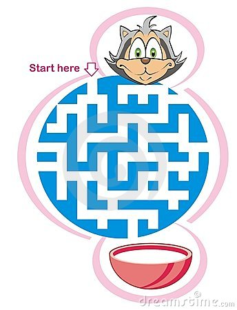 Maze game: cat and milk
